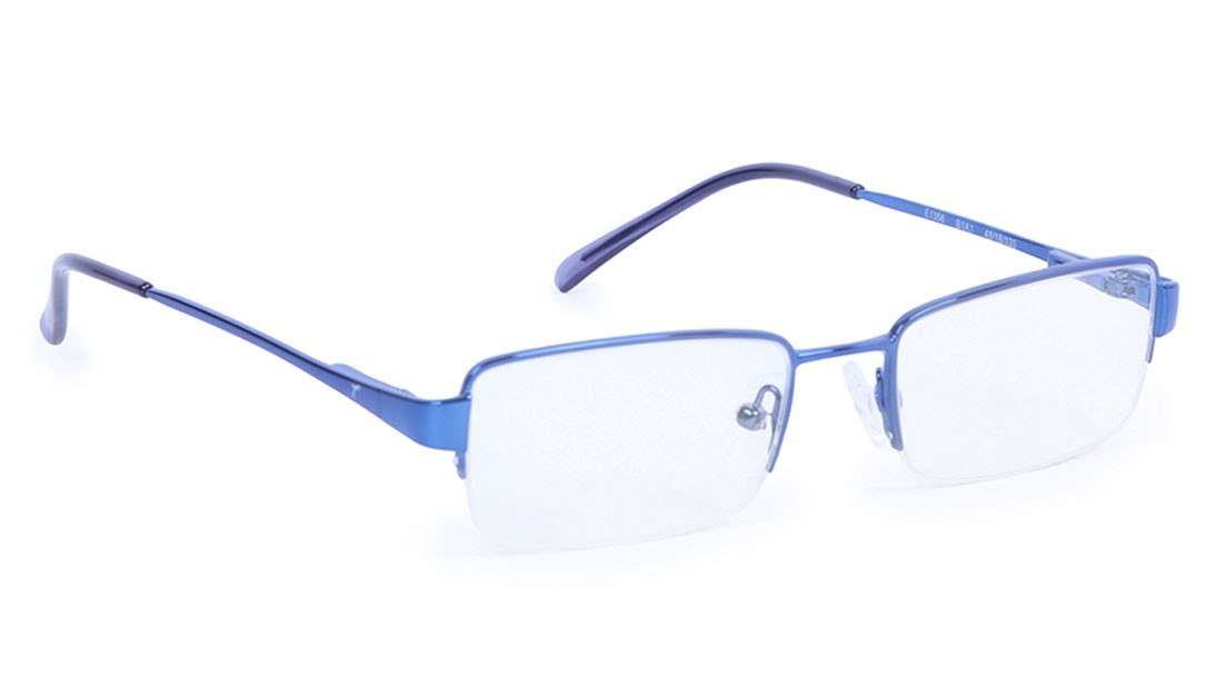 Blue Rectangle Semi-Rimmed Eyeglasses from Titan