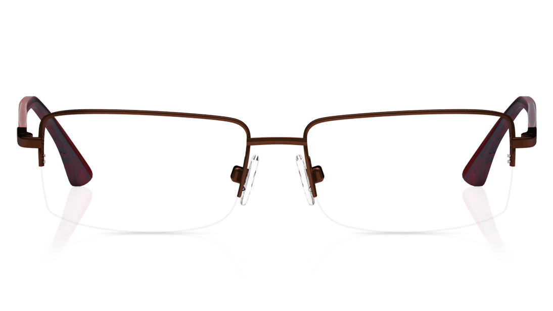 Brown Rectangle Semi-Rimmed Eyeglasses from Titan