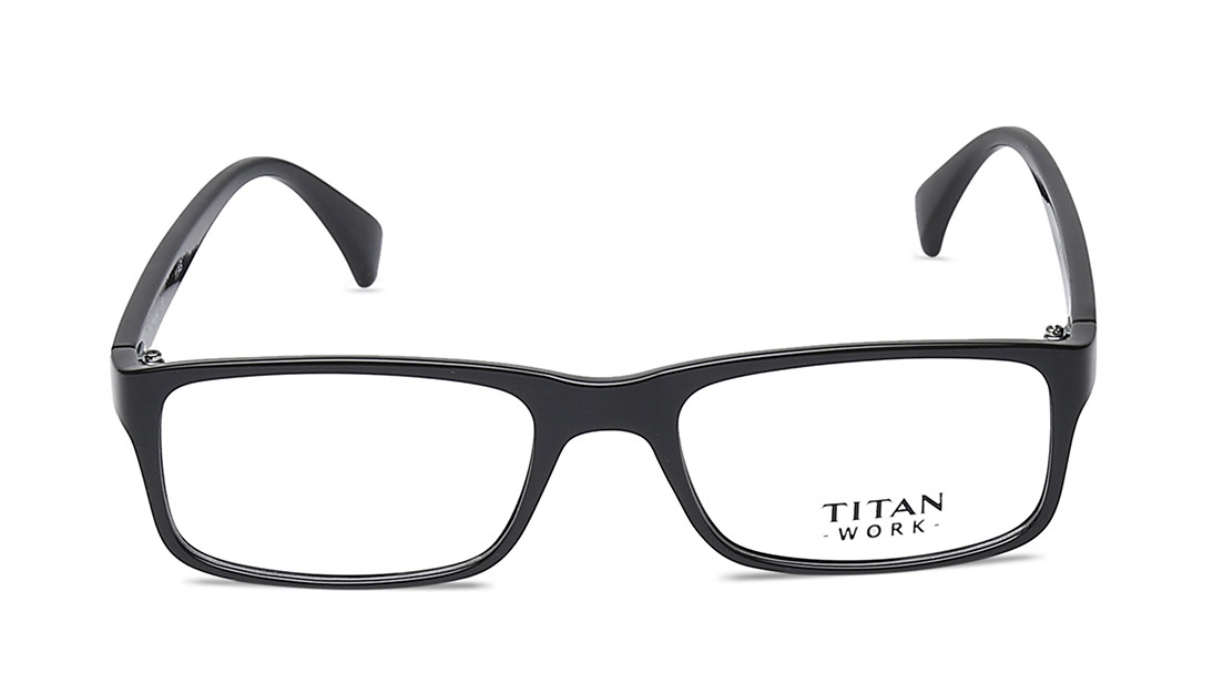 422bcb451de0 Titan Black Rimmed Rectangle Eyeglasses Frames For Men
