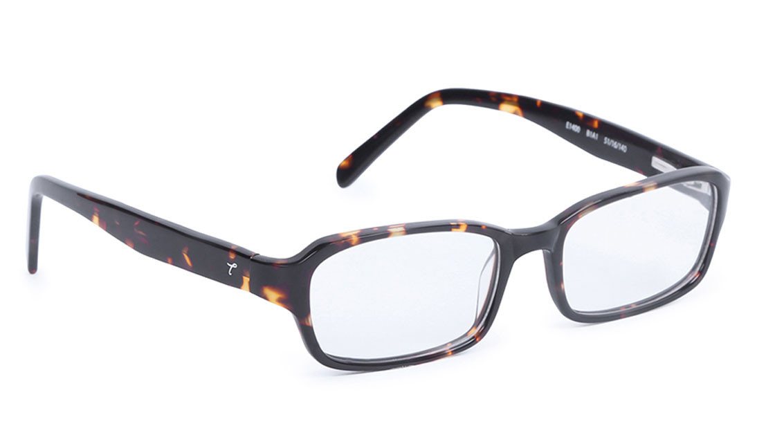Brown Yellow Rectangle Rimmed Eyeglasses from Titan