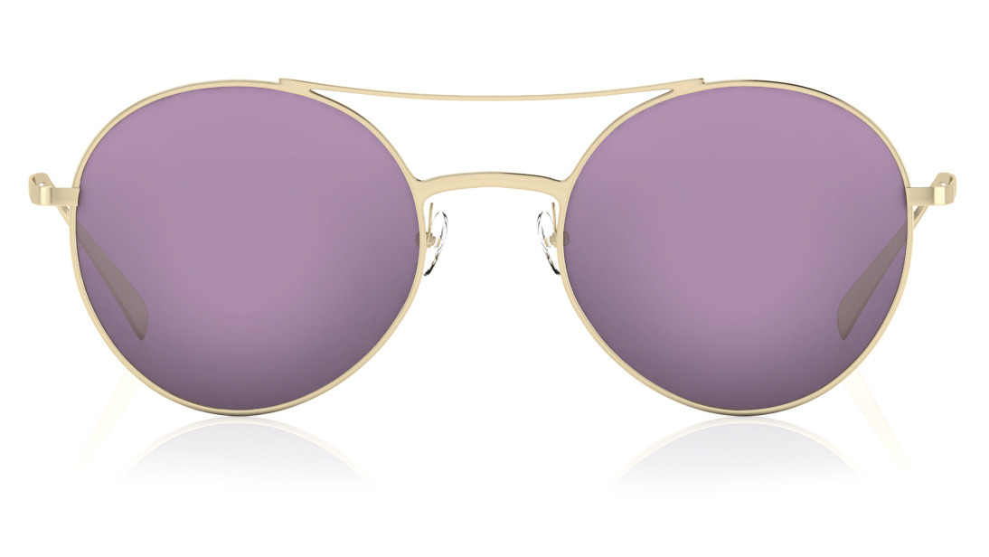 Gold Round Titan Women Sunglasses