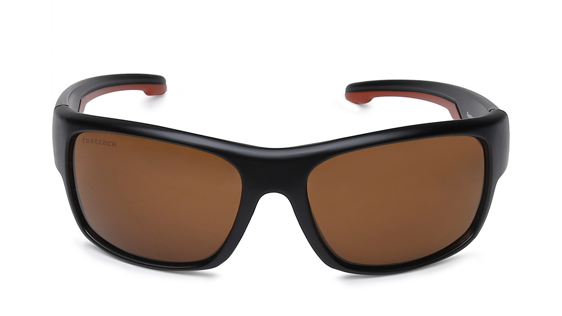 Black Wraparound Fastrack Men Sunglasses