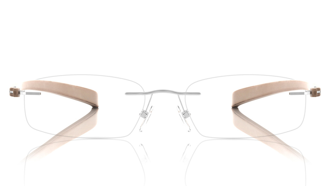 Silver Rectangle Rimless Eyeglasses from Titan
