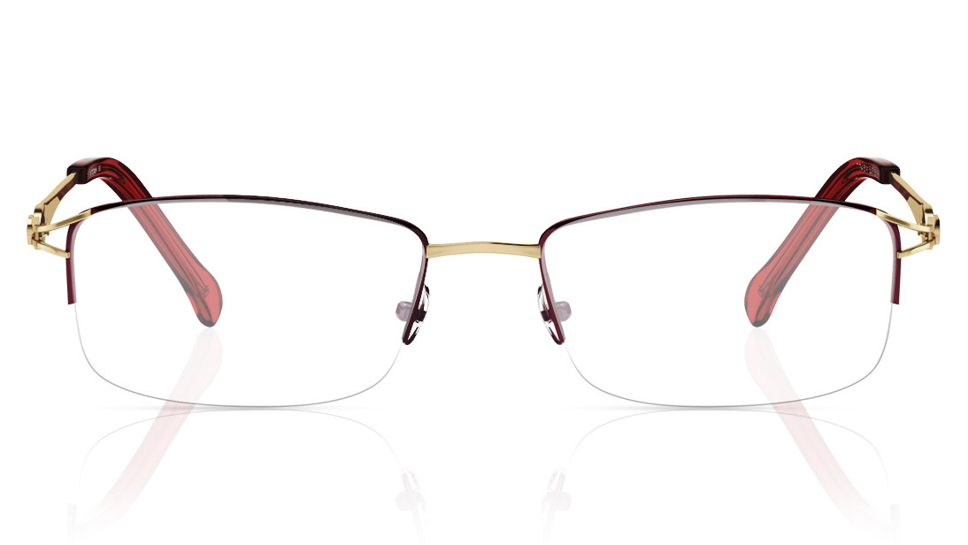Maroon Gold Rectangle Semi-Rimmed Eyeglasses from Titan