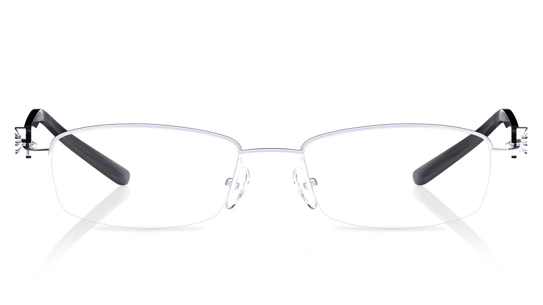 Silver Rectangle Semi-Rimmed Eyeglasses from Titan
