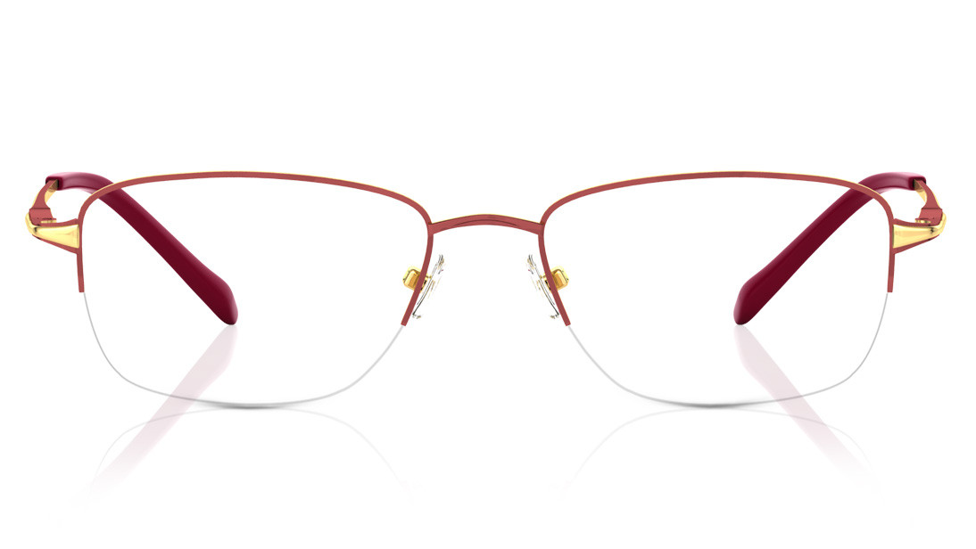 Maroon Rectangle Semi-Rimmed Eyeglasses from Titan