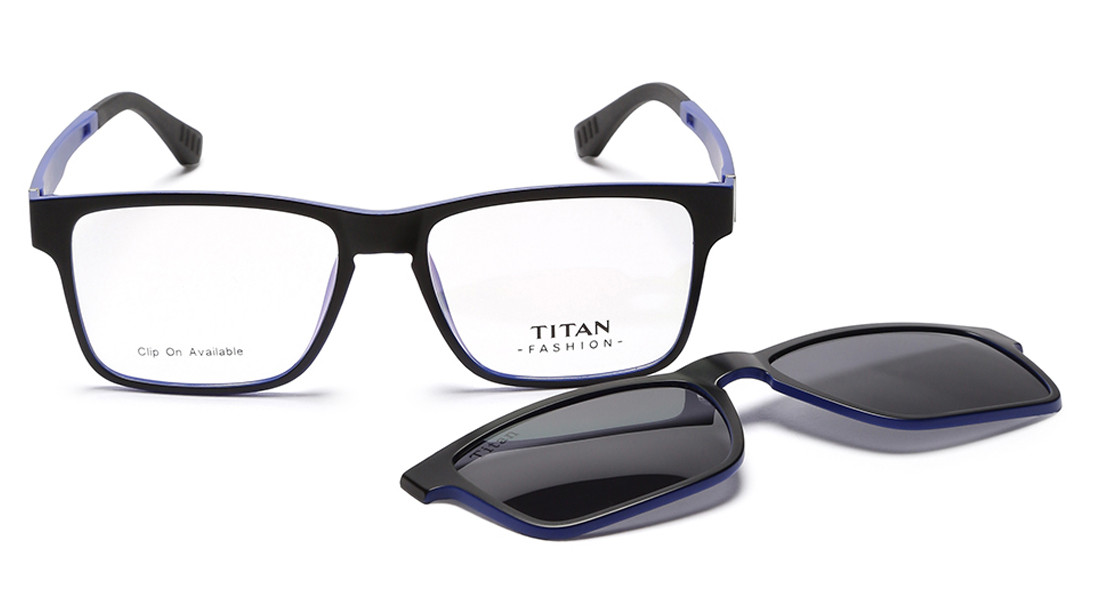 Black Blue Square Rimmed Eyeglasses from Titan