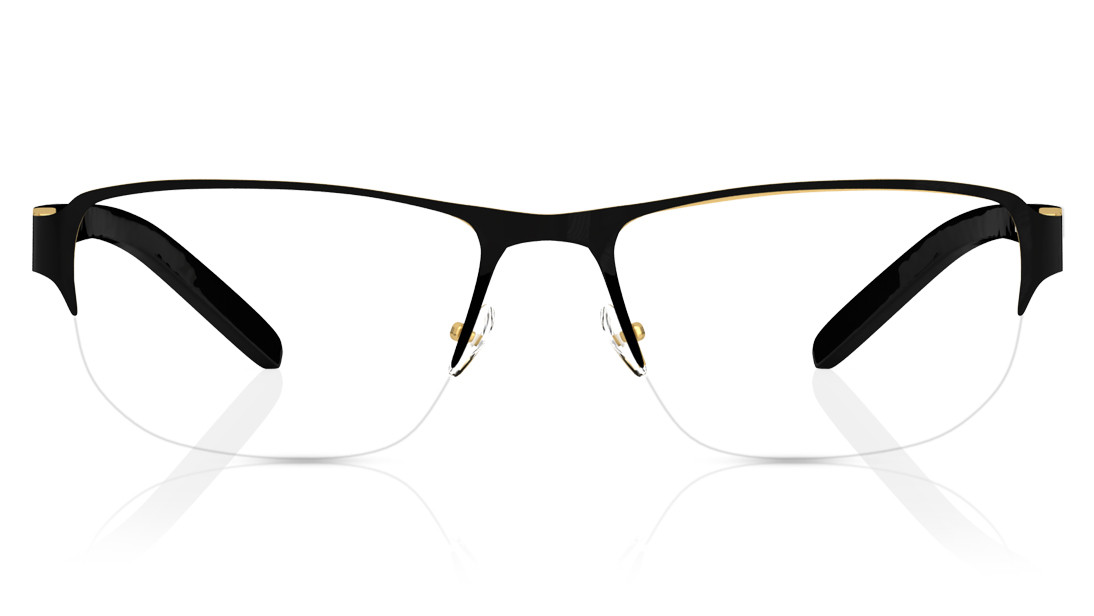 Black Square Semi-Rimmed Eyeglasses from Titan