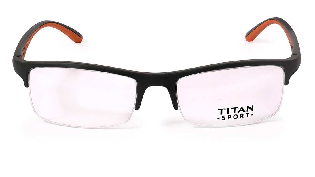 Grey Rectangle Semi-Rimmed Eyeglasses from Titan