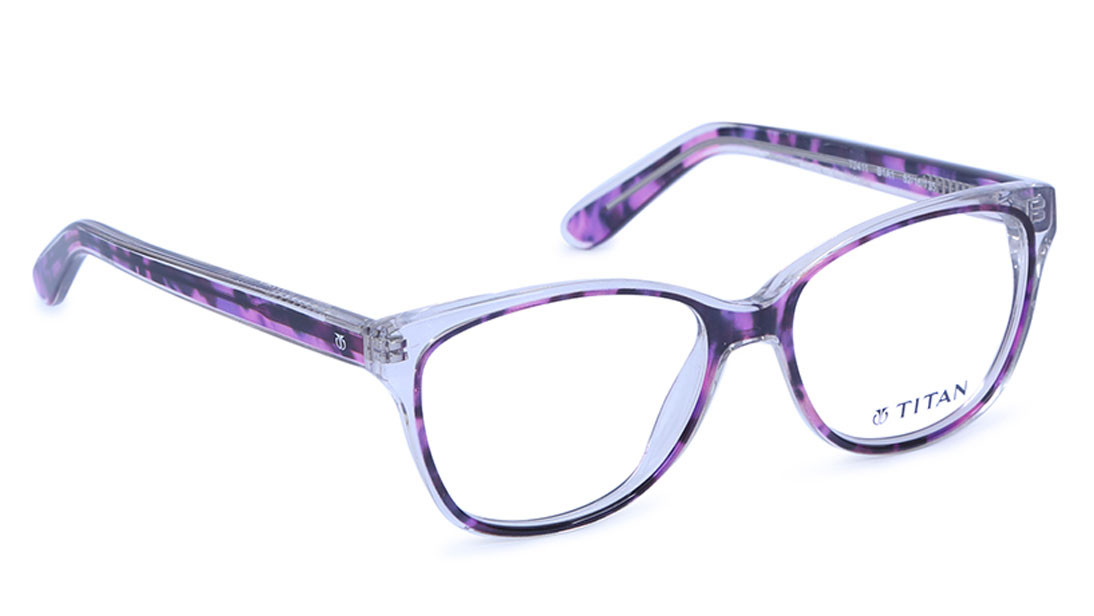 Purple Square Rimmed Eyeglasses from Titan