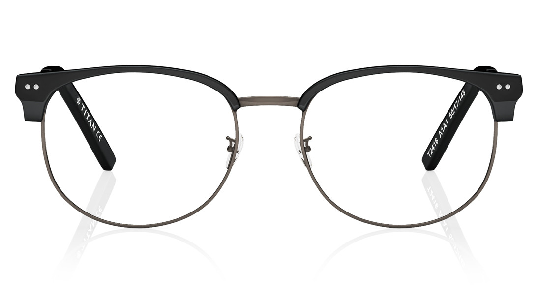Black Clubmaster Rimmed Eyeglasses from Titan