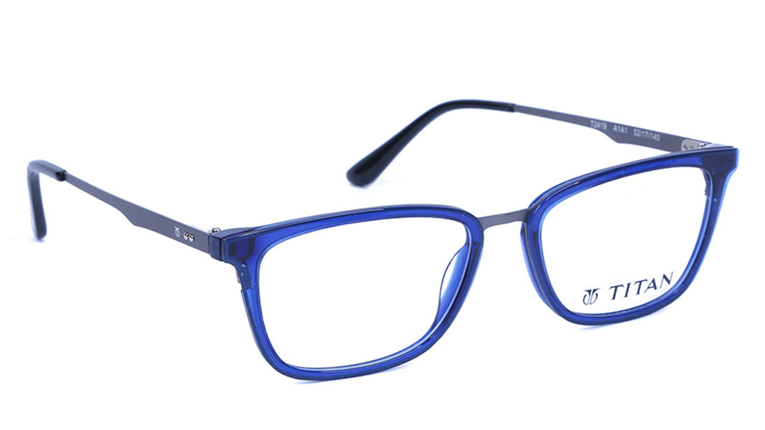Blue Square Rimmed Eyeglasses from Titan