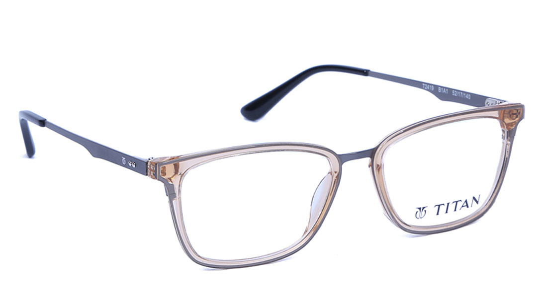 Gold Square Rimmed Eyeglasses from Titan