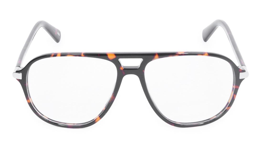 Brown Yellow Square Rimmed Eyeglasses from Titan