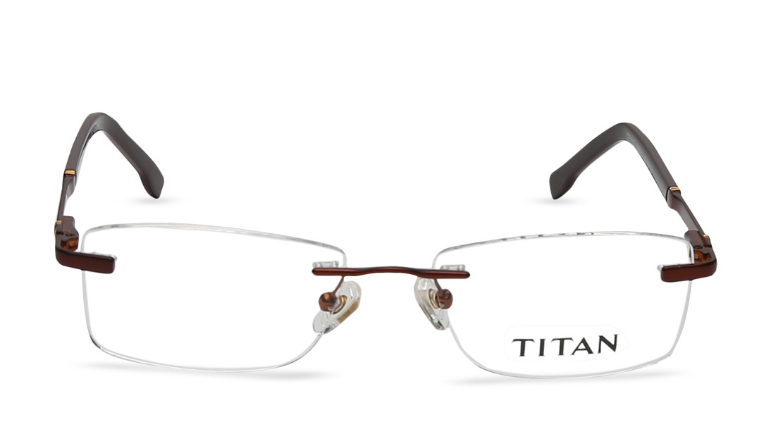 Brown Rectangle Rimless Eyeglasses from Titan