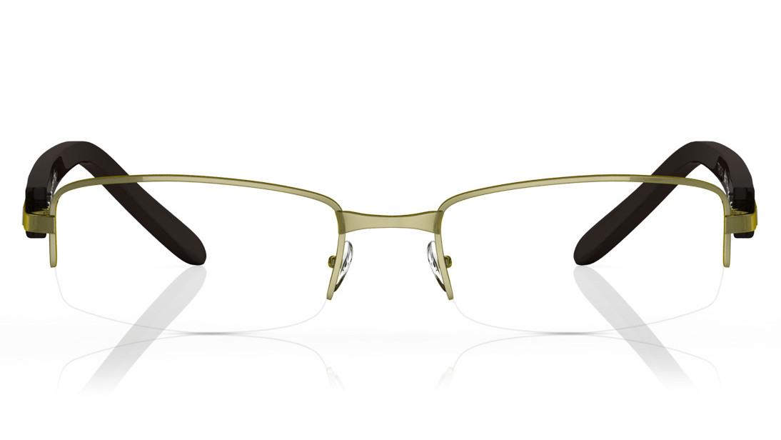 Gun Metal Green Rectangle Semi-Rimmed Eyeglasses from Titan