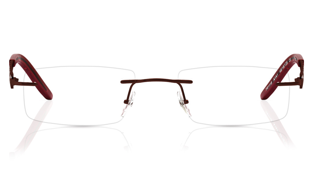 Red Rectangle Rimless Eyeglasses from Titan