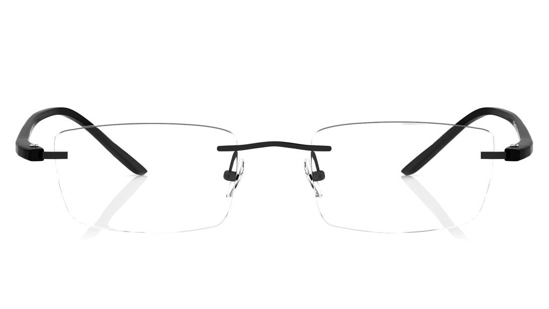 Black Rectangle Rimless Eyeglasses from Titan