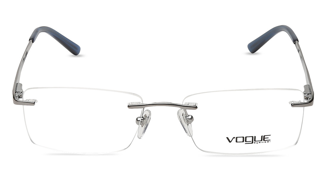 GunMetal Rectangle Rimless Eyeglasses from Vogue