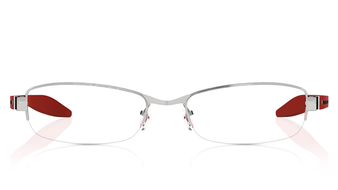 Silver Oval Semi-Rimmed Eyeglasses from Titan