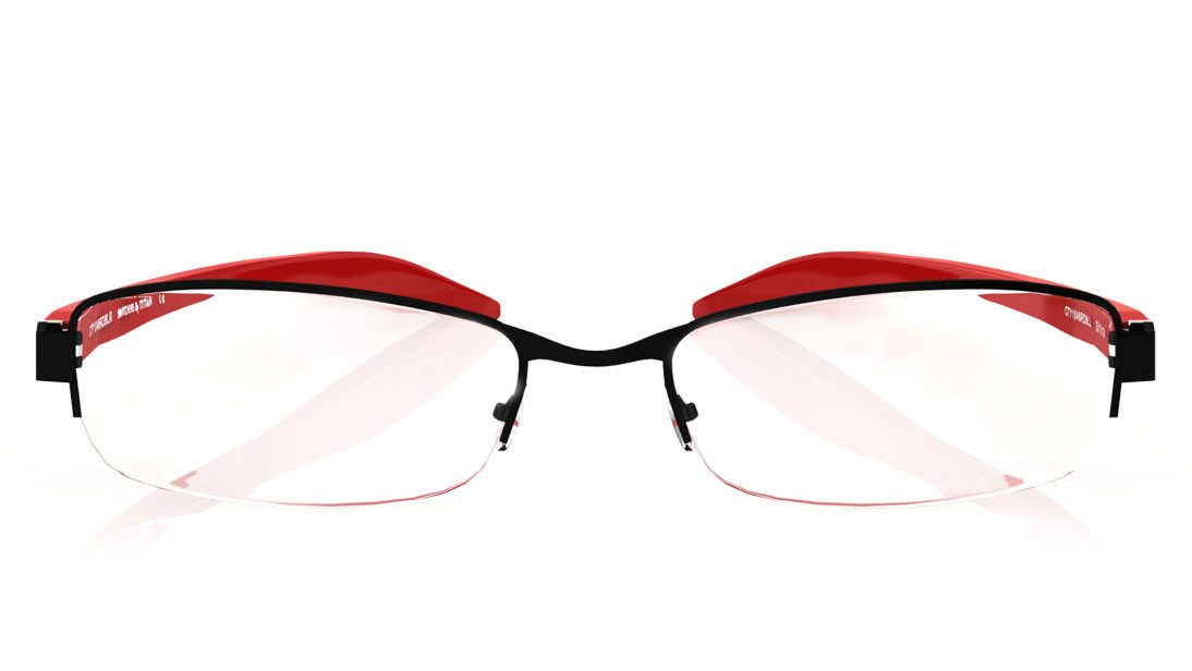 Black Oval Semi-Rimmed Eyeglasses from Titan