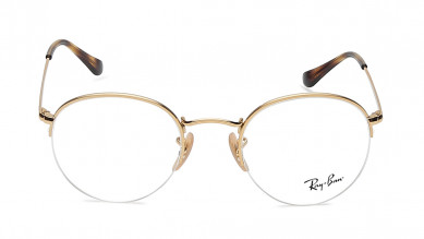 Gold Round Semi-Rimmed  Eyeglasses from Rayban
