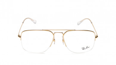 Gold Square Semi-Rimmed  Eyeglasses from Rayban