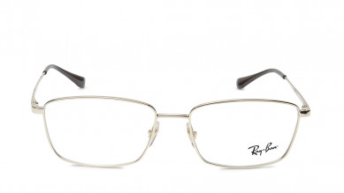 Silver Rectangle Rimmed  Eyeglasses from Rayban