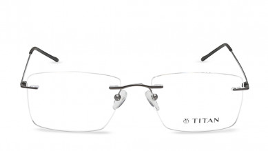 Gun Metal Rectangle Rimless Eyeglasses from Titan