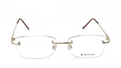 Gold Rectangle Rimless Eyeglasses from Aristo